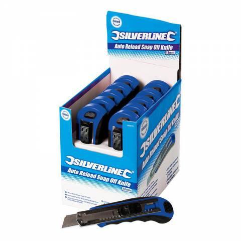 Boîte présentoir de 10 cutters à lame sécable auto-rechargeables 18 mm