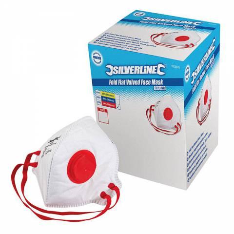 Boîte présentoir de 25 masques respiratoires pliables à valve FFP3 NR