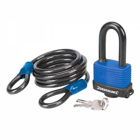 Ensemble 2 pcs : câble de sécurité en acier et cadenas résistant aux intempéries