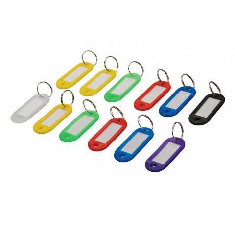 Lot de 12 porte-clés à étiquettes de couleurs assorties