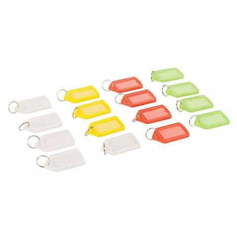 Lot de 16 porte-clés à étiquettes de couleurs assorties (grand modèle)