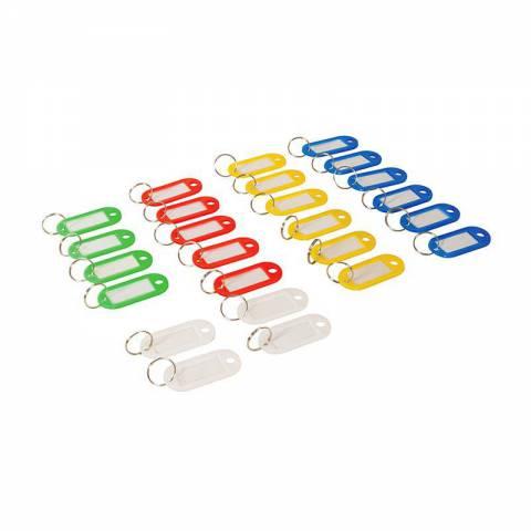 Lot de 25 porte-clés à étiquettes de couleurs assorties (petit modèle)