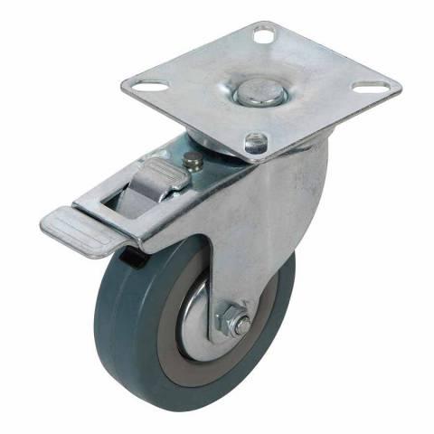 Roulette pivotante à frein en caoutchouc