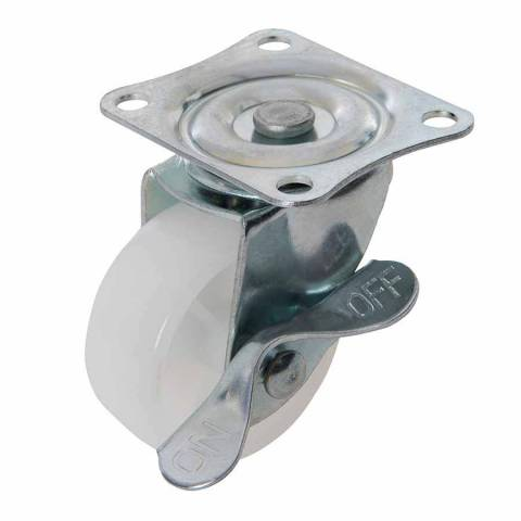 Roulette pivotante à frein en polypropylène